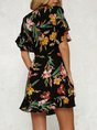 Surplice Neck   Daytime Vintage Frill Sleeve Wrap Floral Midi Dress