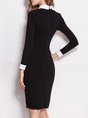 Black Sheath Work Elegant Plain Midi Dress