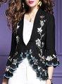 Floral-Print V Neck Casual Kimono