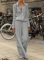 Shirt Collar Long Sleeve Buttoned Two Pieces Suits Plus Size Sets