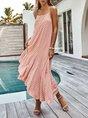 Spaghetti Shift Beach Ruffled Maxi Dress