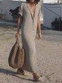 Khaki Short Sleeve Linen Shirt Collar Dress