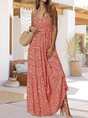 V Neck Spaghetti-Strap Holiday Printed Maxi Dress