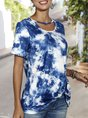 Ombre/tie-Dye Short Sleeve Casual T-Shirt