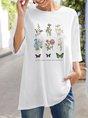 Floral Half Sleeve Crew Neck T-Shirt