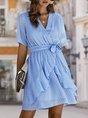 Surplice Neck A-Line Swiss-Dot Mini Dress