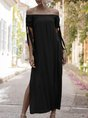 Horizontal Neck  Shift Beach Holiday Maxi Dress