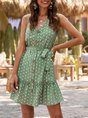 V Neck  Holiday Buttoned  With Belt Mini Dress