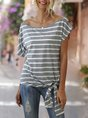 Casual Short Sleeve Lace-Up T-Shirt