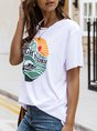 White Cotton Printed Short Sleeve T-Shirt