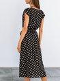 Classic Black Printed Polka Dots Short Sleeve  With Belt Midi Dress