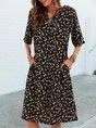 Black Casual V Neck Printed Shift Pockets Midi Dress