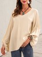 Apricot Solid Long Sleeve Shift Casual Top