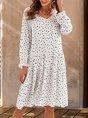 White Shift Floral Long Sleeve Casual Mini Dress