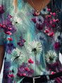 Colorful Dandelion Painting Casual Short Sleeve Top