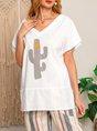 Casual Short Sleeve V Neck Printed Shirts
