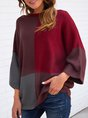 Red Casual Long Sleeve Solid Sweater